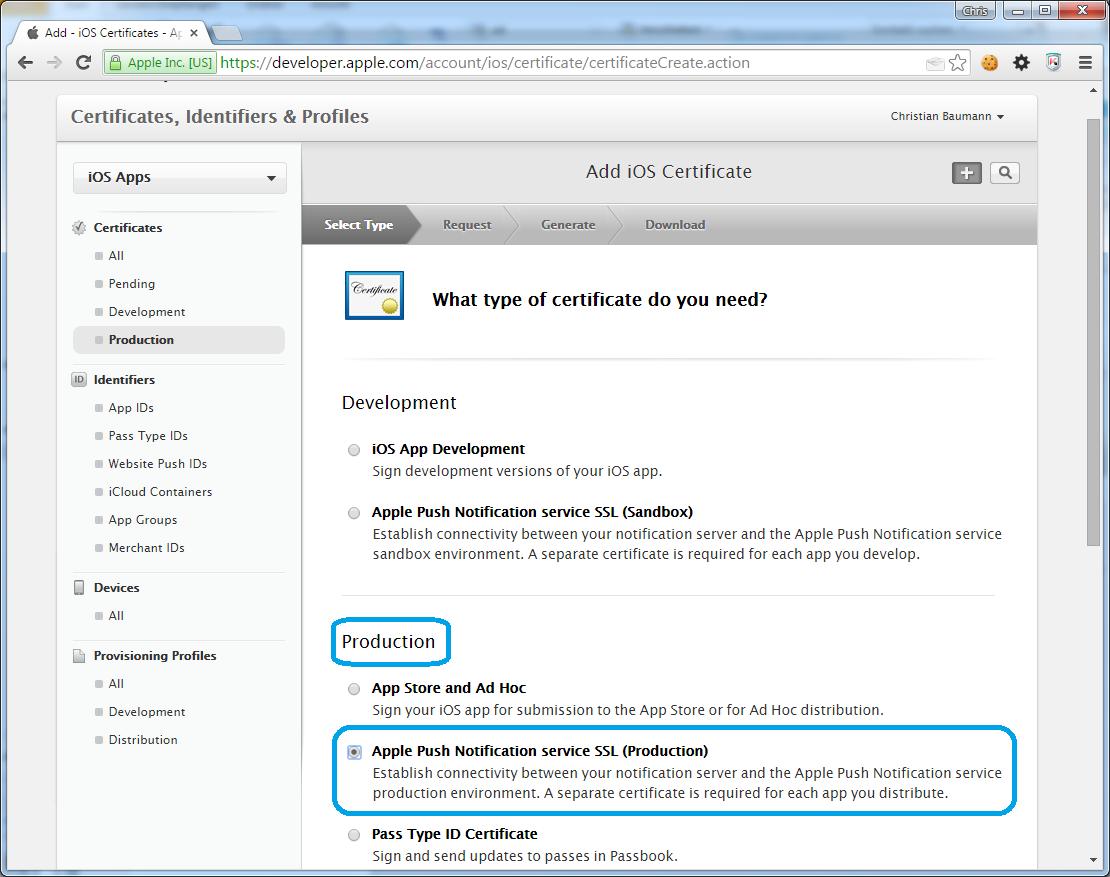Apple Push Notification Server Zertifikat Erstellen